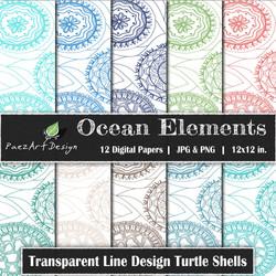 Ocean Elements: Turtle Shells Transparent {PaezArtDesign}