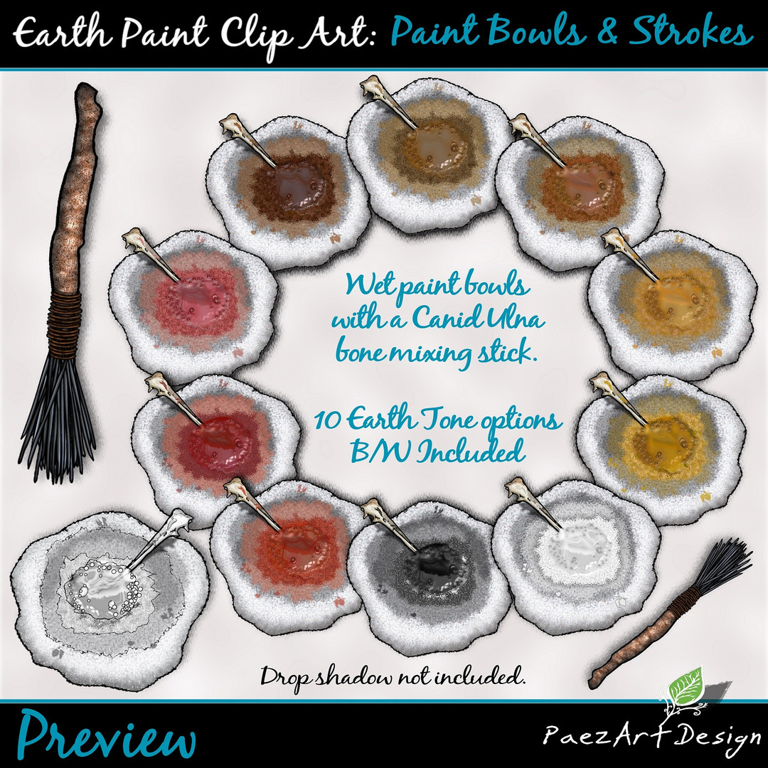 Earth Paint Clip Art_ Bowls {PaezArtDesiEarth Paint Clip Art: Paint Bowls & Strokes {PaezArtDesign}