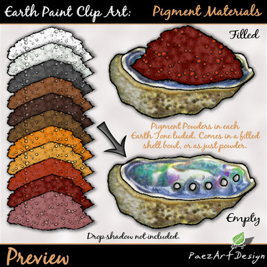 Earth Paint Clip Art_ Pigment Powders {PEarth Paint Clip Art: Pigment Materials {PaezArtDesign}