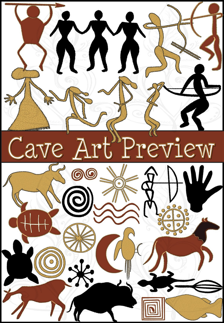 Prehistoric Era Cave Art Clip Art {PaezArtDesign}