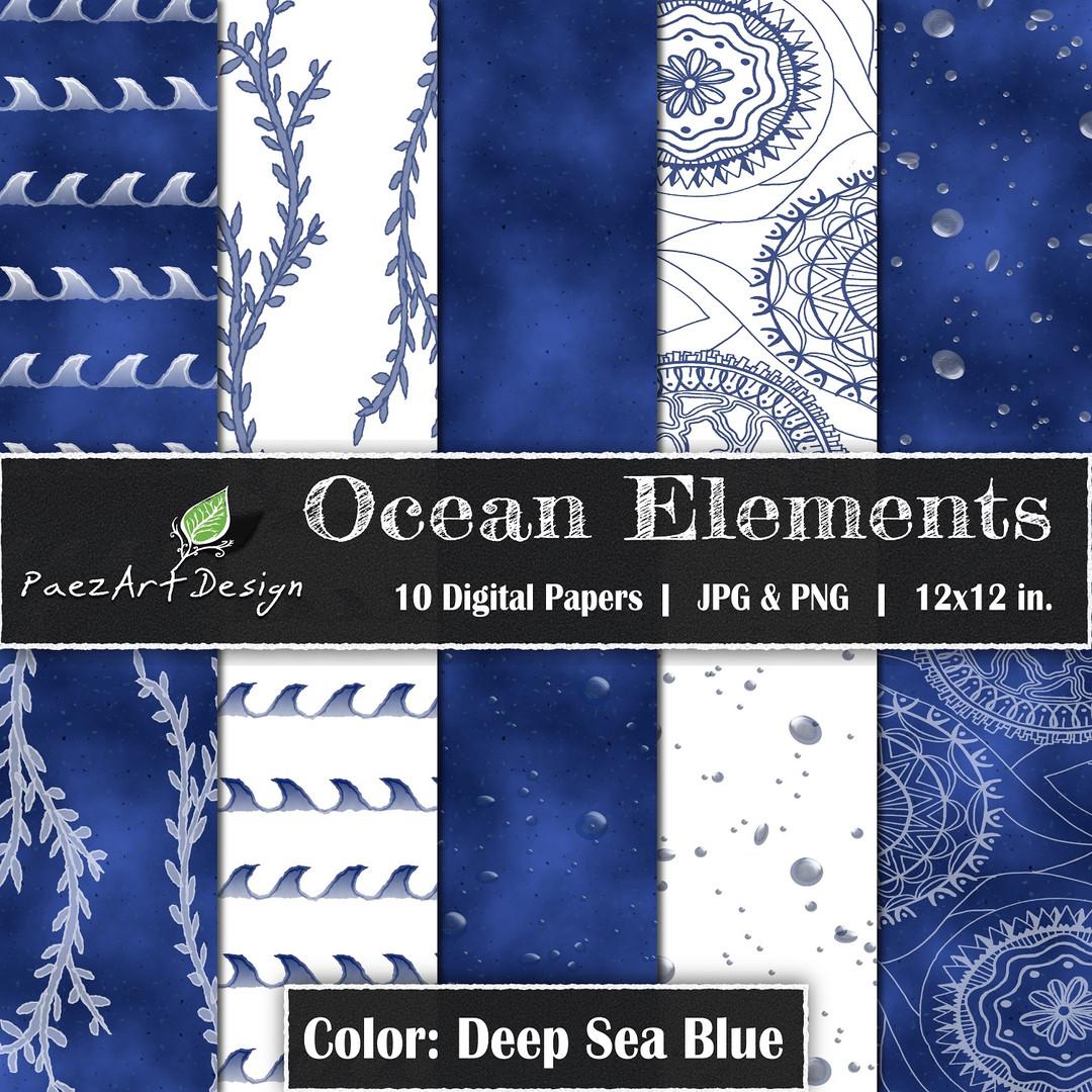 Ocean Elements: Deep Sea Blue {PaezArtDesign}