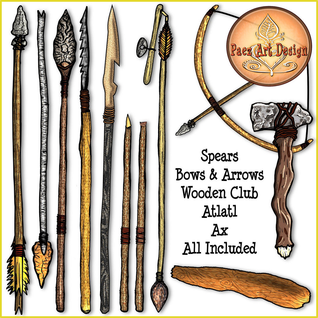 Prehistoric Era Weapons Clip Art {PaezArtDesign}