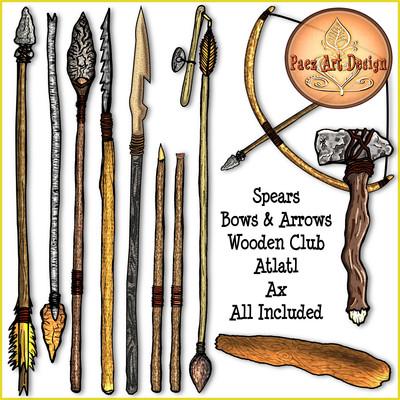 Prehistoric Era Weapons Clip Art {PaezArtDesign}