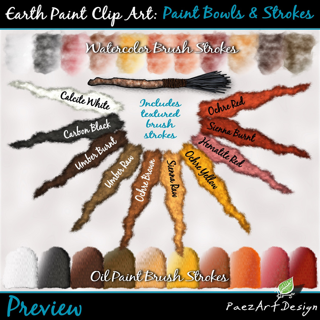 Earth Paint Clip Art_ Strokes {PaezArtDeEarth Paint Clip Art: Paint Bowls & Strokes {PaezArtDesign}