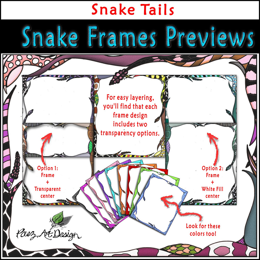 Snake Clip Art Frames: Snake Tails {PaezArtDesign}