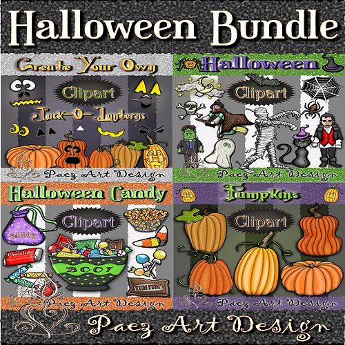 Halloween ClipArt BUNDLE | Holiday Graphics | PaezArtDesign Digital Art