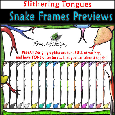Snake Clip Art Frames: Slithering Snake Tongues {PaezArtDesign}