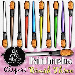 Paintbrush Clip Art Images | Filbert Tip Brush | Multi-color | PaezArtDesign
