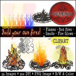 Fire Clip Art Images | Science Graphics | Educational | Flames, Bon Fires, Smoke, Fire Glows | PaezArtDesign Digital Art