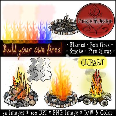 Build Your Own Fire Clip Art: Flames, Smoke, Bon Fires, Fire Glows {PaezArtDesign}