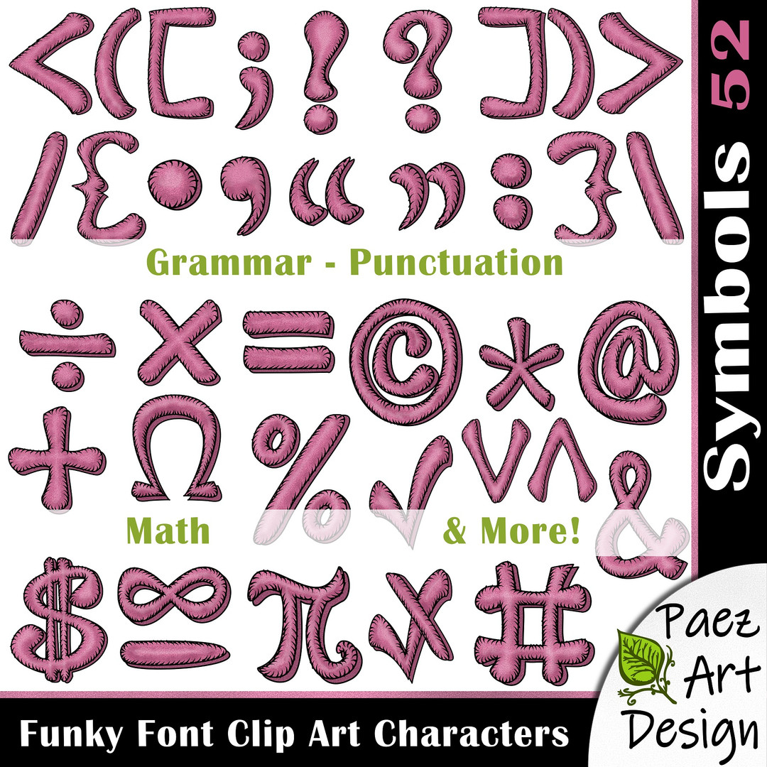 Funky Font Clip Art Characters | Marvelous Mauve {PaezArtDesign}