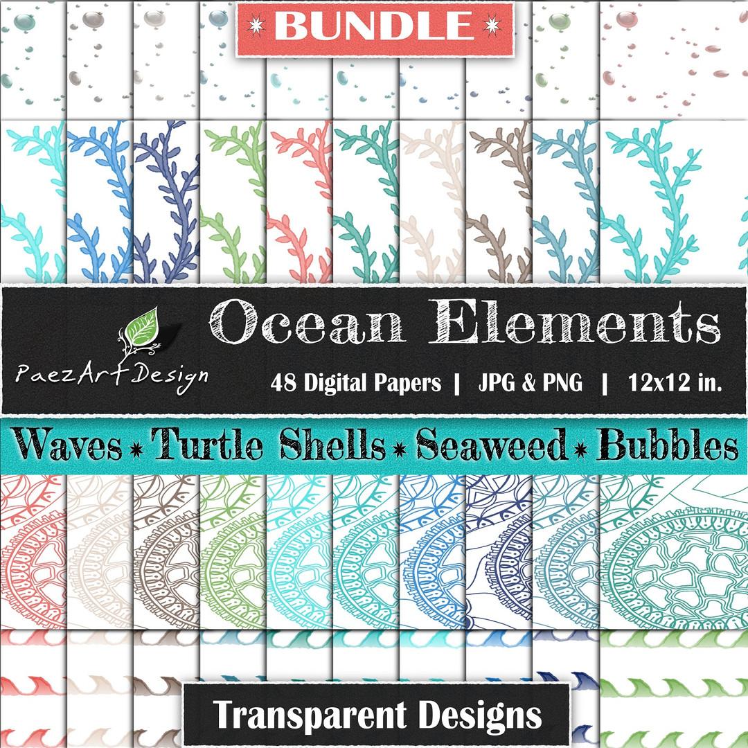 Ocean Elements: Transparent Designs {PaezArtDesign}