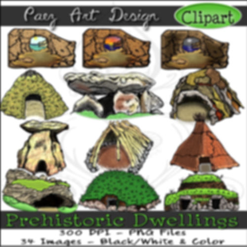 Prehistoric Era Clip Art Images | Dwellings & Structures, Dolmen, Tumulus, Caves, Bender Huts & More | History & Science Graphics | PaezArtDesign Digital Art