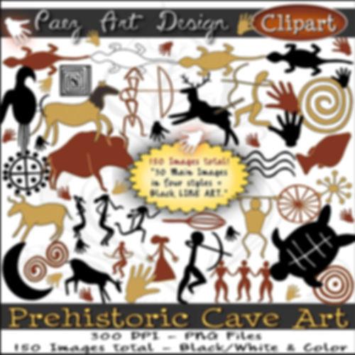 Prehistoric Era Clip Art Images   Cave Art, Cave Paintings, Animals, Warriors, Petroglyphs, Symbols   History & Science Graphics   PaezArtDesign Digital Arts