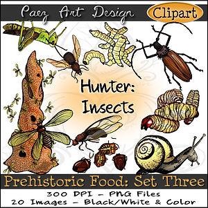 Prehistoric Era Clip Art Images | Food: Hunter, Insects, Termites, Snails, Larva, Beetles, Jumiles, Chicatana Ants & More | History & Science Graphics | PaezArtDesign Digital Arts