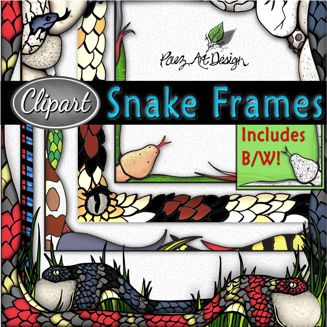 Snake Clip Art Frames {PaezArtDesign}