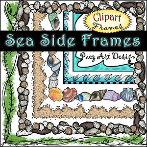 Sea Side Clip Art Digital Frames {PaezArtDesign}