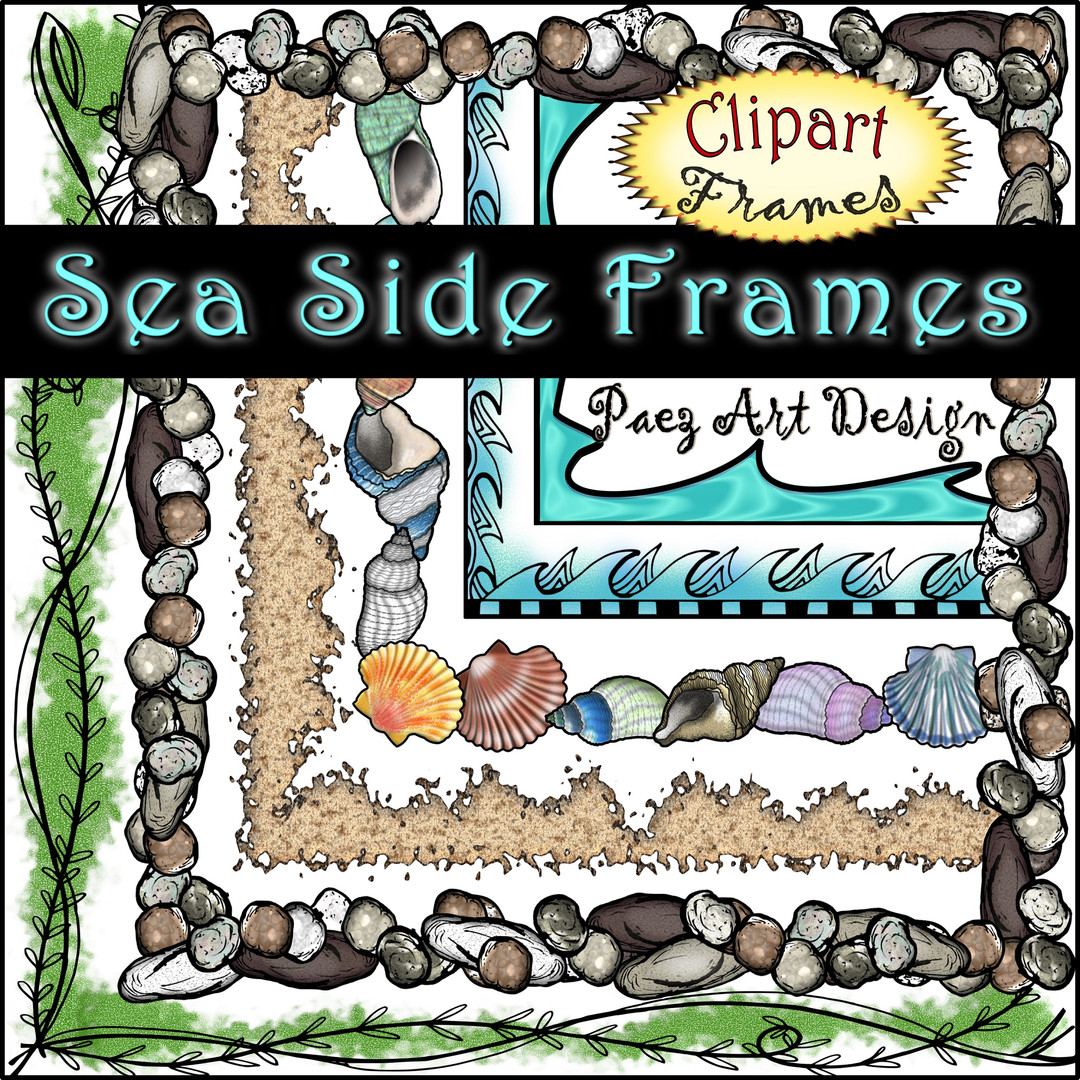 Sea Side Clip Art Frames {PaezArtDesign}