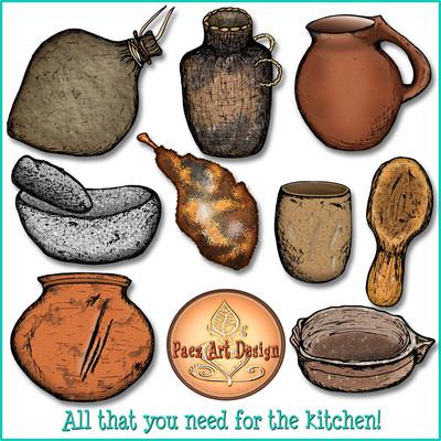 Prehistoric Pottery & Cookware Clip Art {PaezArtDesign}