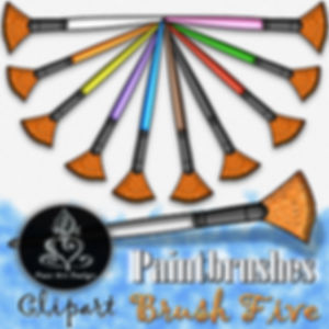 Paintbrush Clip Art Images | Fan Tip Brush | Multi-color | PaezArtDesign