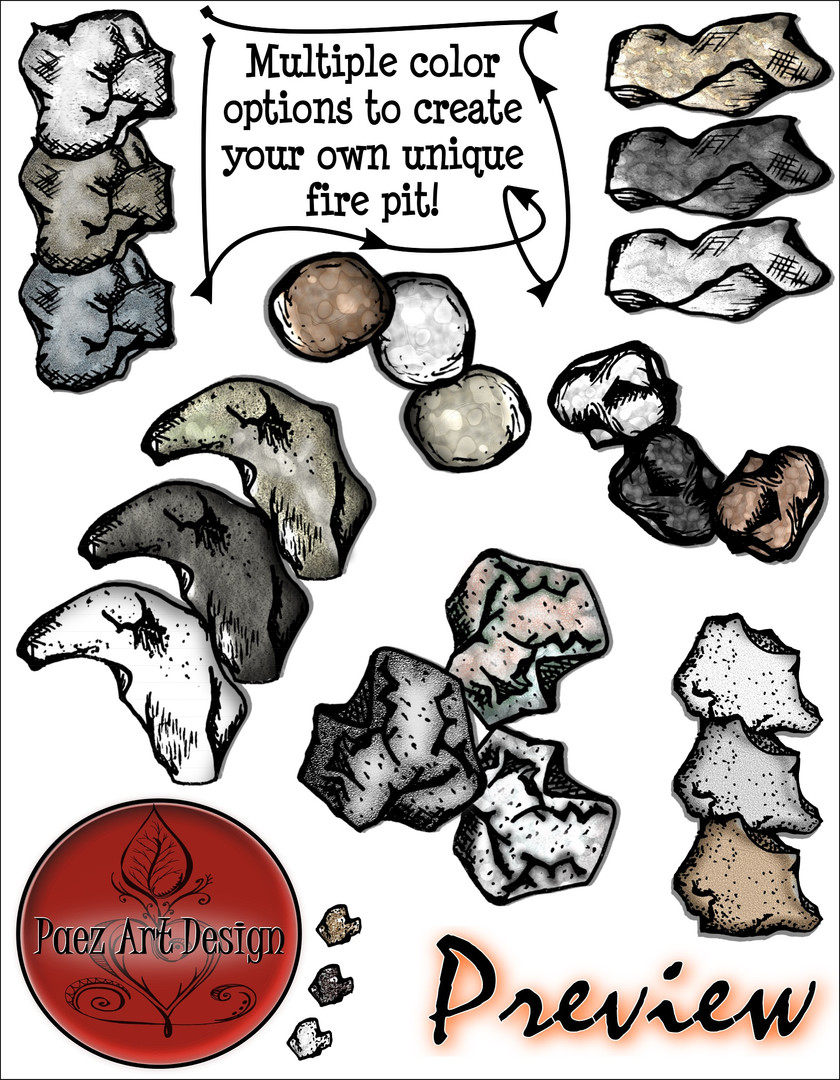 Build Your Own Fire Clip Art: Rocks - Fire Pits {PaezArtDesign}