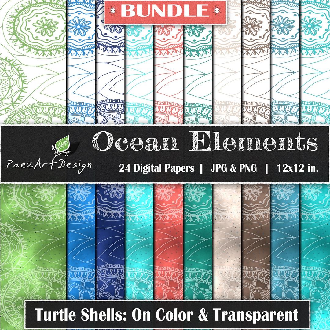 Ocean Elements: Turtle Shells Bundle {PaezArtDesign}