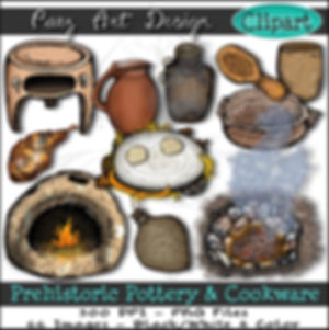 Prehistoric Era Clip Art Images | Pottery & Cookware, Terra Cotta Clay, Plant Fiber, Earth Oven, Cooking Pit, Water Vessels  | History & Science Graphics | PaezArtDesign Digital Arts