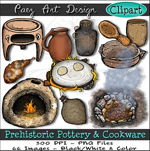 Prehistoric Era Clip Art Images | Pottery & Cookware, Terra Cotta Clay, Plant Fiber, Earth Oven, Cooking Pit, Water Vessels  | History & Science Graphics | PaezArtDesign Digital Arts