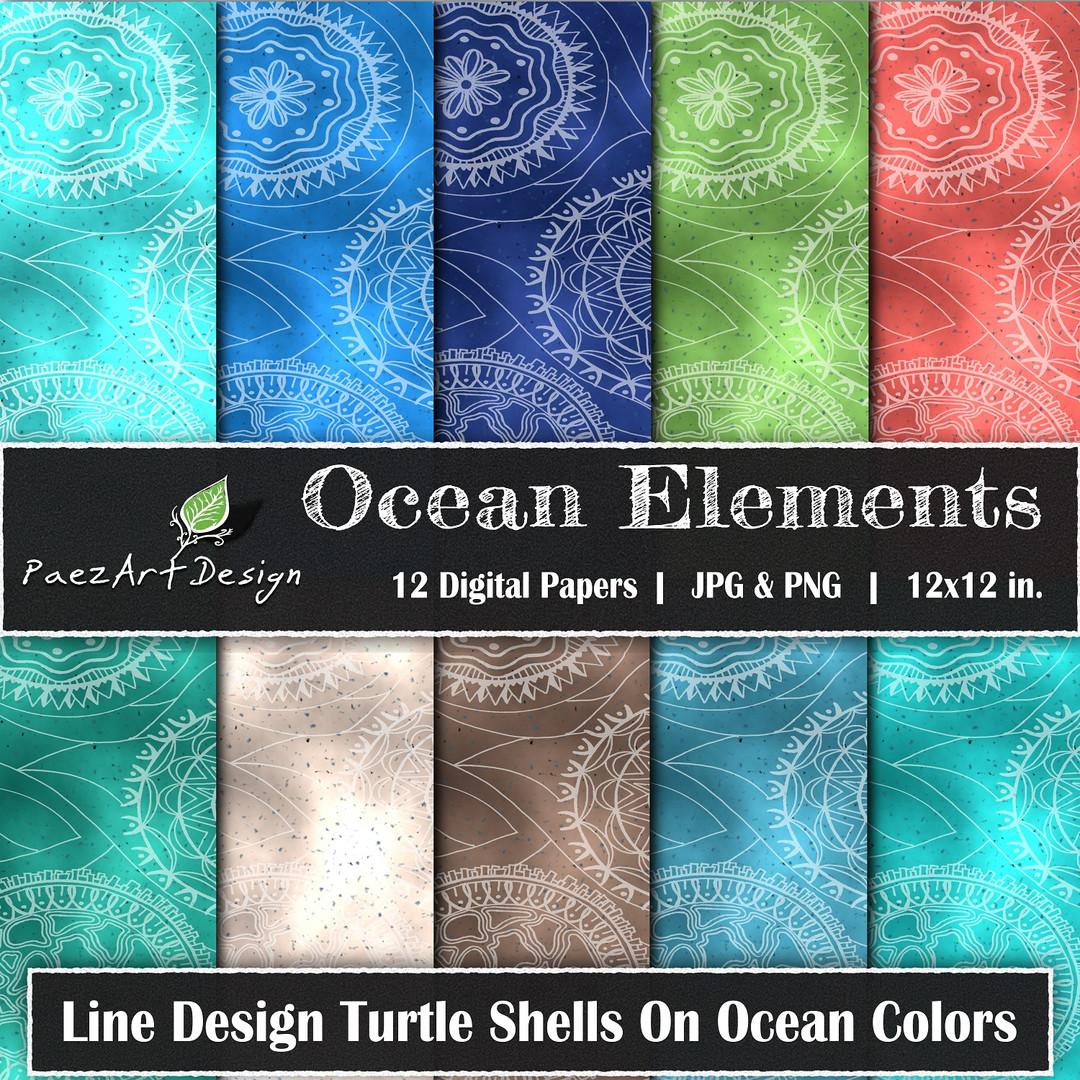 Ocean Elements: Turtle Shells On Color {PaezArtDesign}