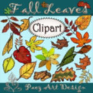 Fall Leaf Clip Art Imags | Seasonal & Plant Graphics | PaezArtDesign Digital Art