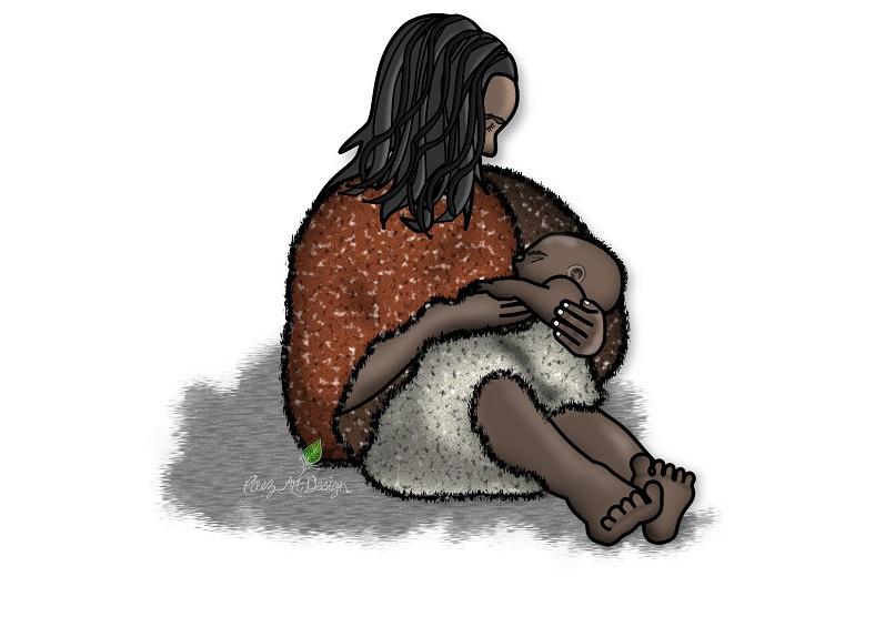 Prehistoric People Clip Art | Mom & Baby Image | PaezArtDesign Illustration