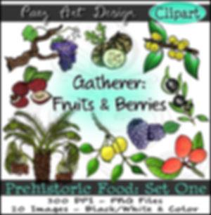 Prehistoric Food Clip Art: Fruits & Berries   Plant & Nature Graphics   Early History Images   Prehistorc Era Plant ClipArt for Educational Resources   PaezArtDesign Digital Art