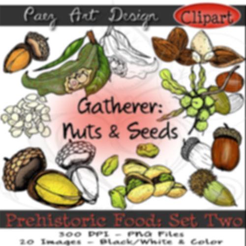 Prehistoric Era Clip Art Images | Foods: Gatherer Nuts & Seeds, Acorn, Mt. Tabor, Macadamia, Almonds, Pistachios & More | History & Science Graphics | PaezArtDesign Digital Art
