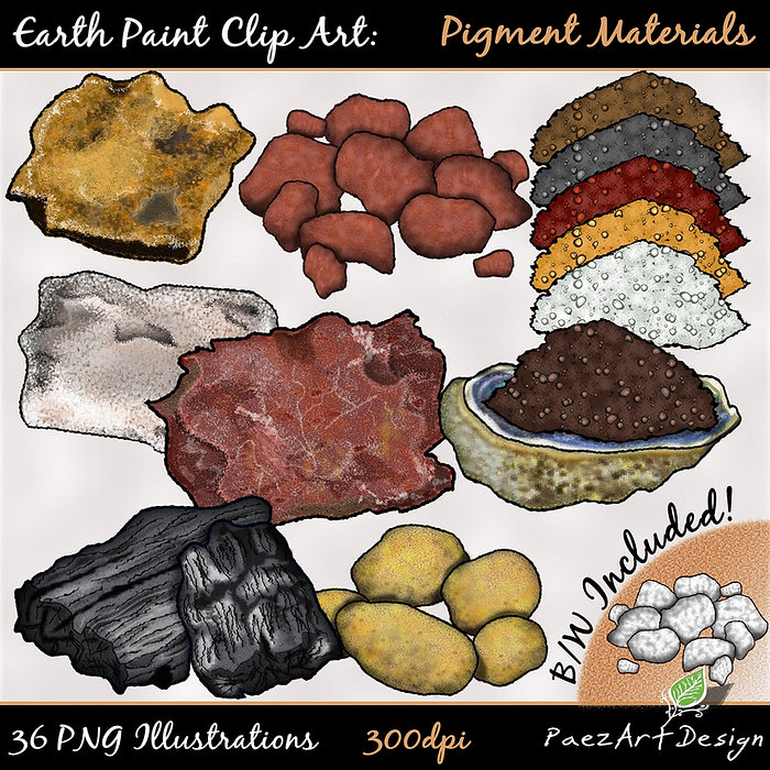 Earth Paint Clip Art: Pigment Materials | PaezArtDesig Illustraton & Graphics | Digital Art Images for Education, Science, Social Studies, History, Art | Pigment Paint