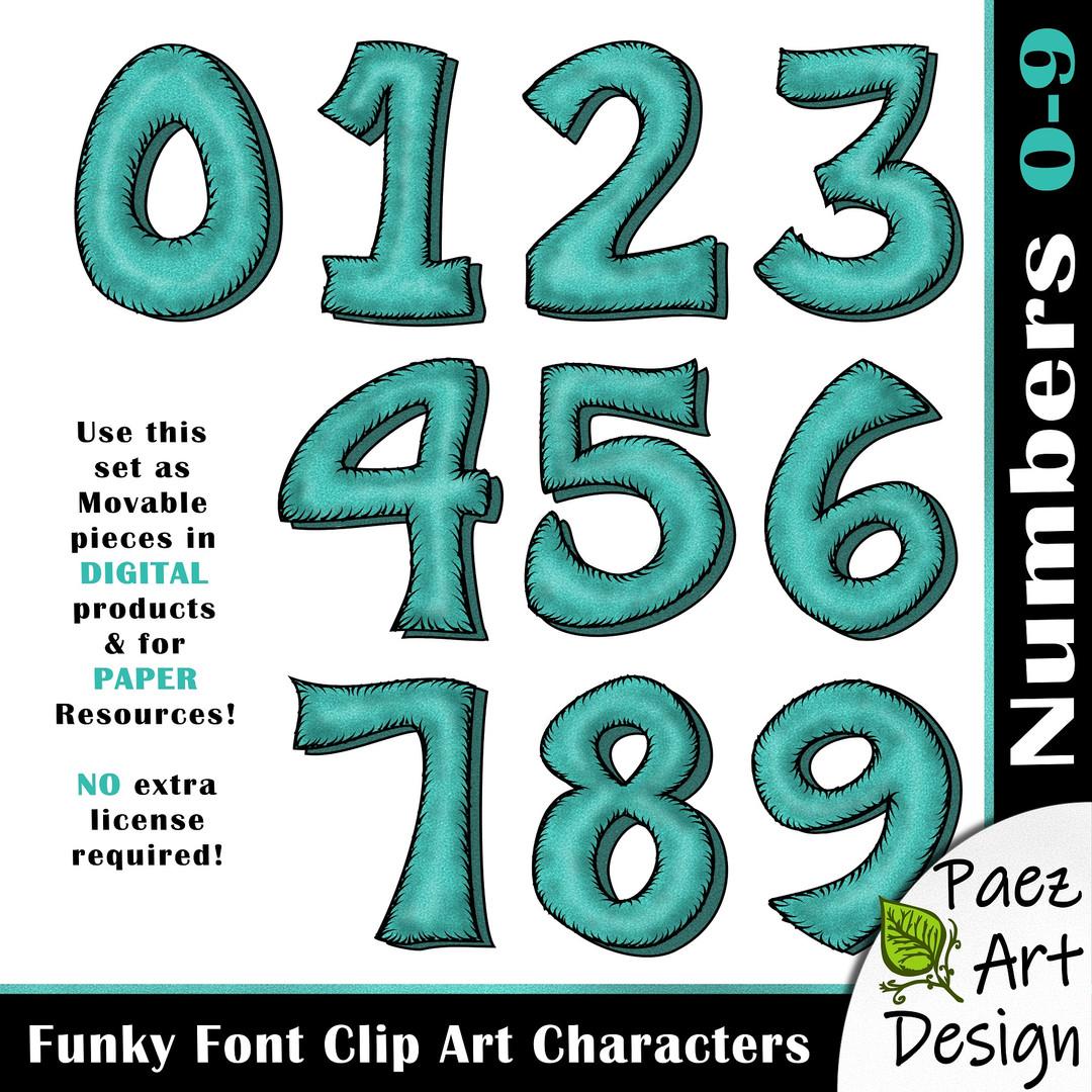 Funky Font Clip Art Characters | Aqua Blue {PaezArtDesign}