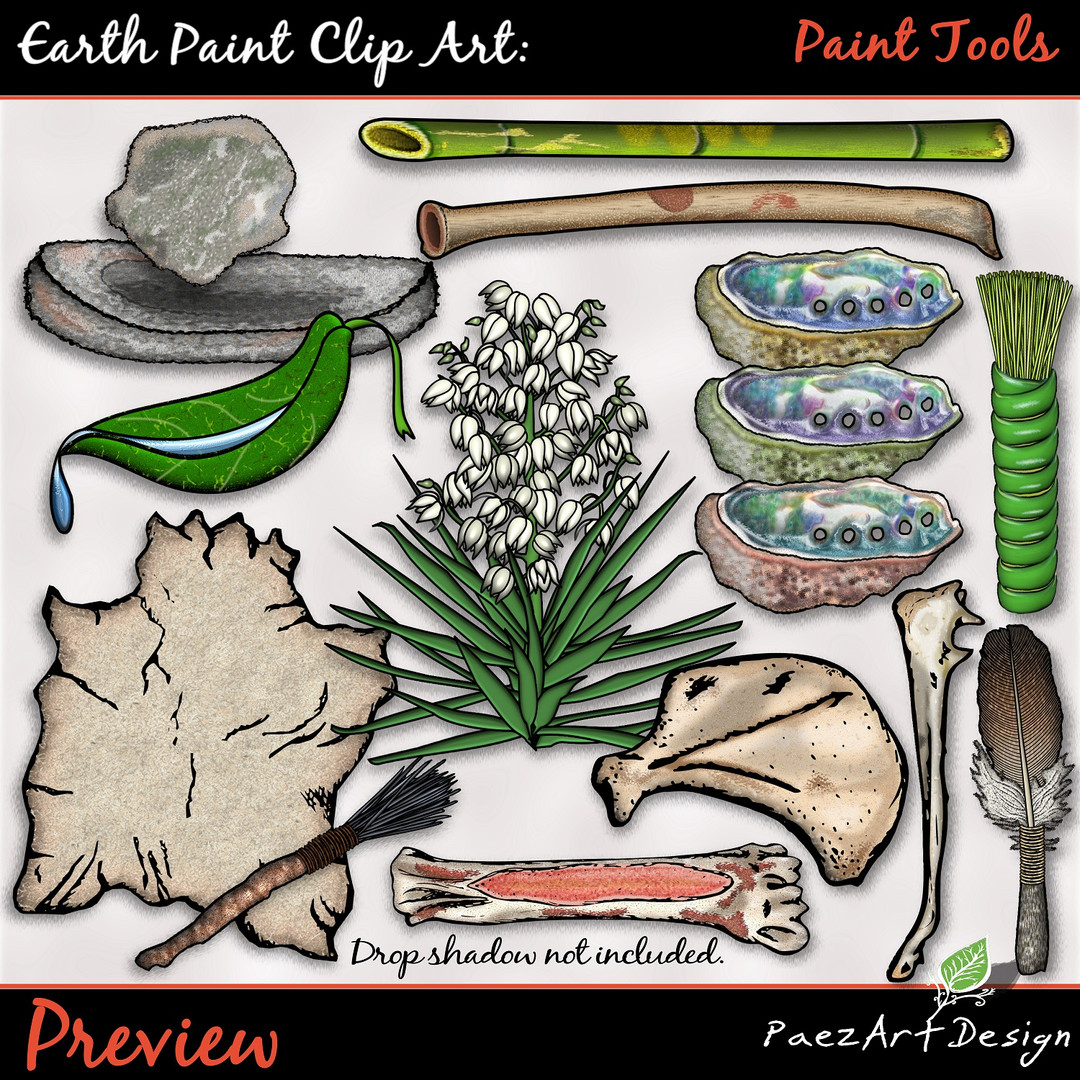 Earth Paint Clip Art_ Tools Color PrevieEarth Paint Clip Art: Paint Tools {PaezArtDesign}
