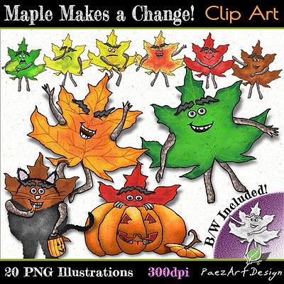 PaezArtDesin Maple Nature Pal Clip Art Illustrations | Autumn - Fall Digital Art Graphics for Education