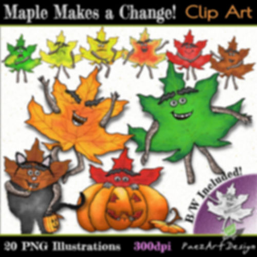 PaezArtDesin Maple Nature Pal Clip Art Illustrations | Autumn - Fall Digital Art Graphics for Education
