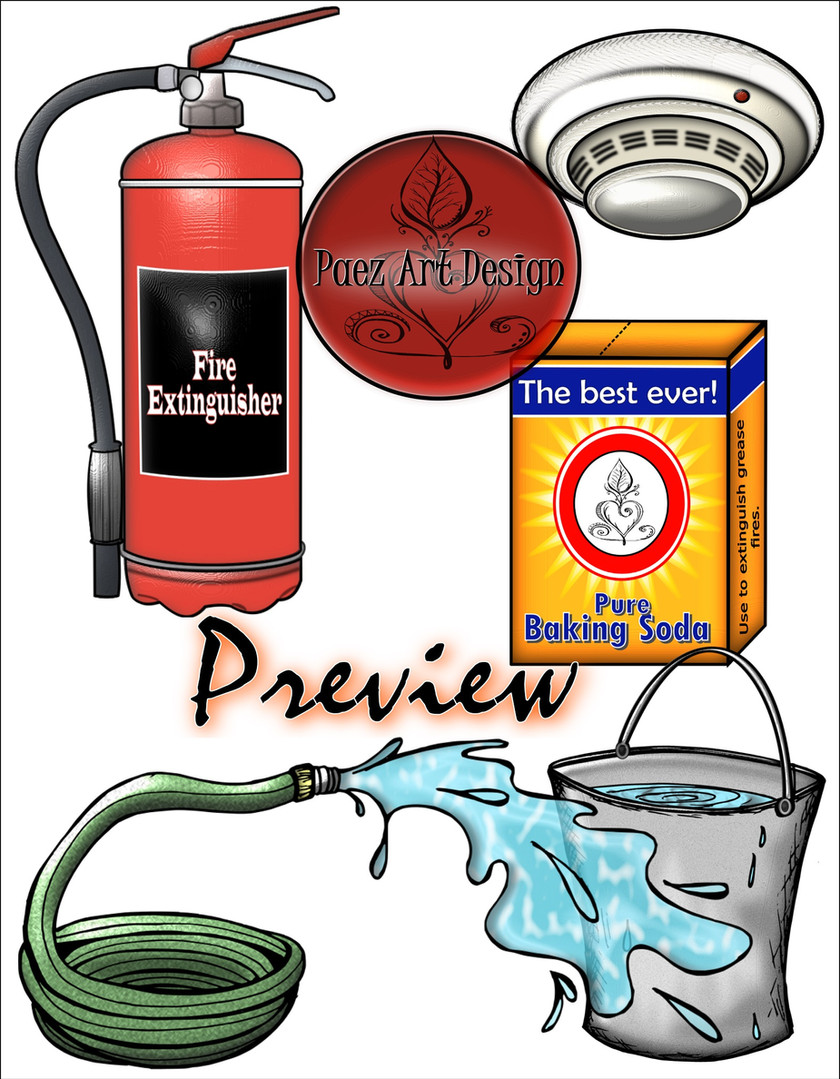 Build Your Own Fire Clip Art: Extinguish - Detect {PaezArtDesign}