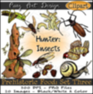 Prehistoric Era Clip Art Images | Food: Hunter, Insects, Termites, Snails, Larva, Beetles, Jumiles, Chicatana Ants & More | History & Science Graphics | PaezArtDesign Digital Arts