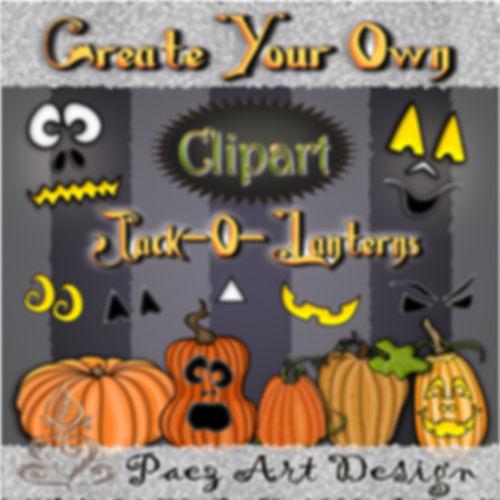 Create Your Own Jack-o-Lantern Clip Art | Halloween Holiday Graphics | PaezArtDesign Digital Art