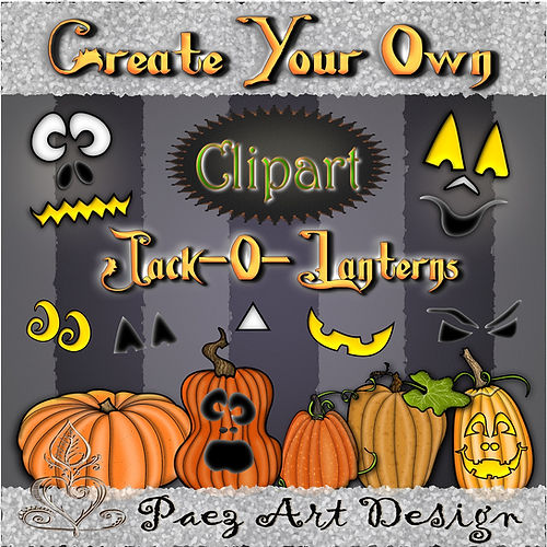Create Your Own Jack-o-Lantern Clip Art | Halloween Holiday Graphics | PaezArtDesign Digital Art