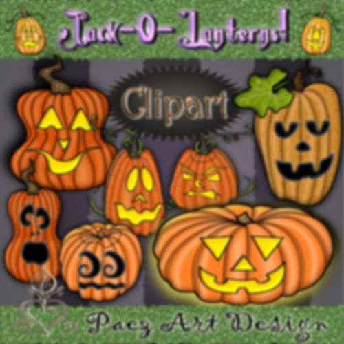 Jack-o-Lantern Clip Art | Halloween Holiday Graphics | PaezArtDesign Digital Art