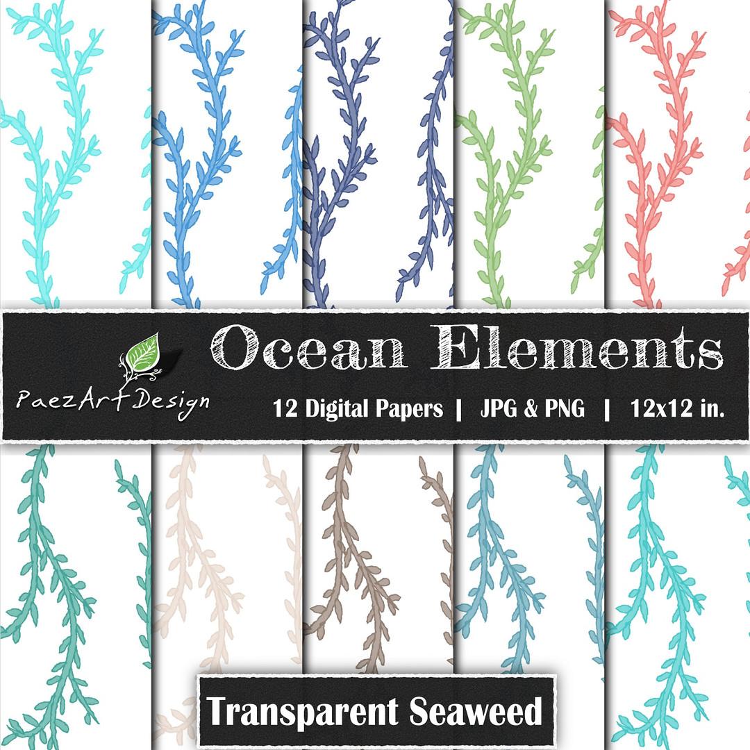 Ocean Elements: Seaweed Transparent {PaezArtDesign}
