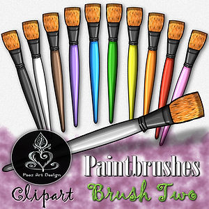 Paintbrush Clip Art Images | Bright Tip Brush | Multi-color | PaezArtDesign
