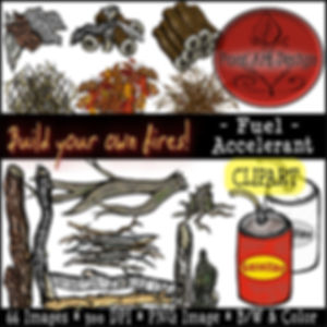 Fire Clip Art Images | Science Graphics | Educational Digital Art | Fuel, Accelerant, Gas, Kindling, Tinder, Wood, Leaves, Pine Needles, Logs | PaezArtDesign Digital Art