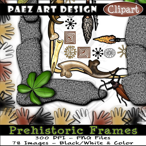 Prehistoric Era Clip Art Images | Digital Frames & Borders | History & Science Graphics | PaezArtDesign Digital Arts