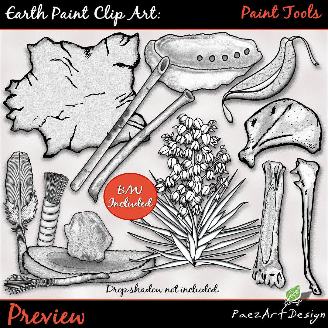 Earth Paint Clip Art_ Paint Tools PrevieEarth Paint Clip Art: Paint Tools {PaezArtDesign}