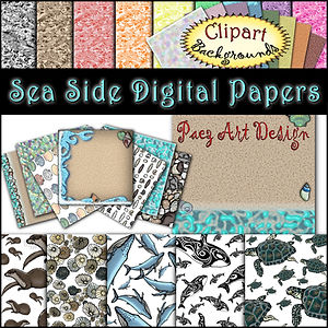 Sea Side Digital Papers {PaezArtDesign}