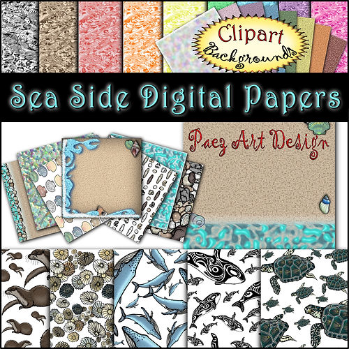 Sea Side Digital Papes {PaezArtDesign}